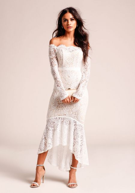 White Off Shoulder Lace Mermaid Dress