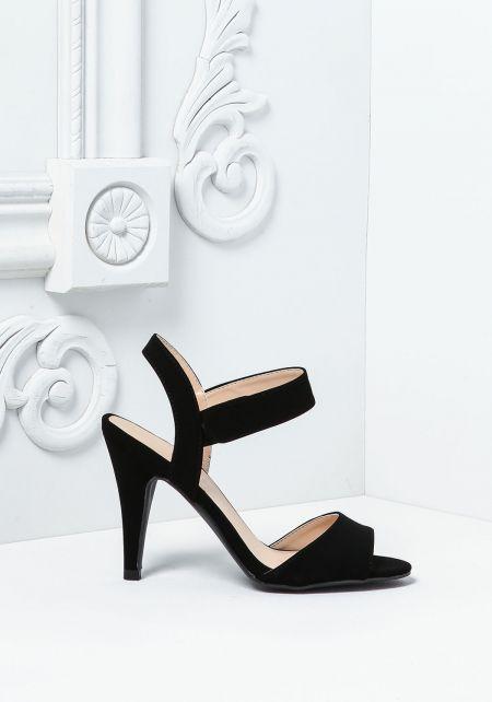 Black Suedette Short Ankle Strap Heels