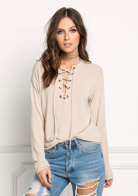 Taupe Pullover Lace Up Sweater Top
