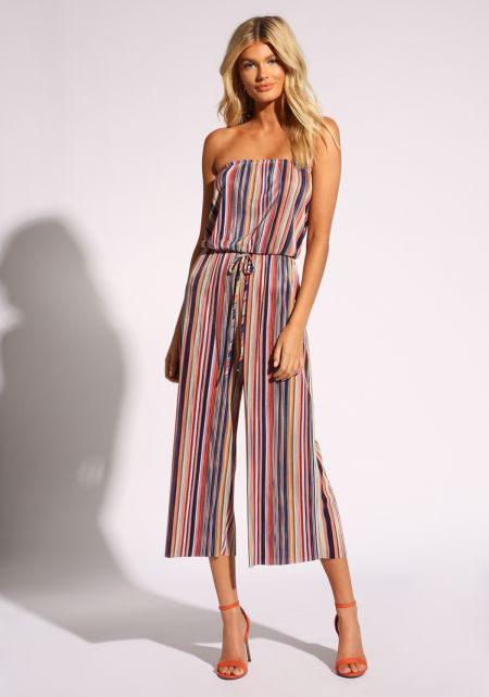 Multi Stripe Drawstring Culottes Jumpsuit