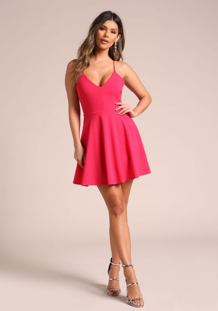 Fuchsia Back Cross Strap Flared Dress