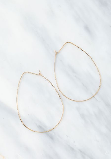 Gold Thin Wire Teardrop Earrings