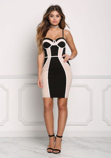 Black and Taupe Color Block Bustier Bodycon Dress