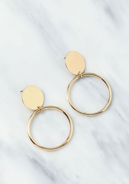 Gold Plaque Hoop Earrings