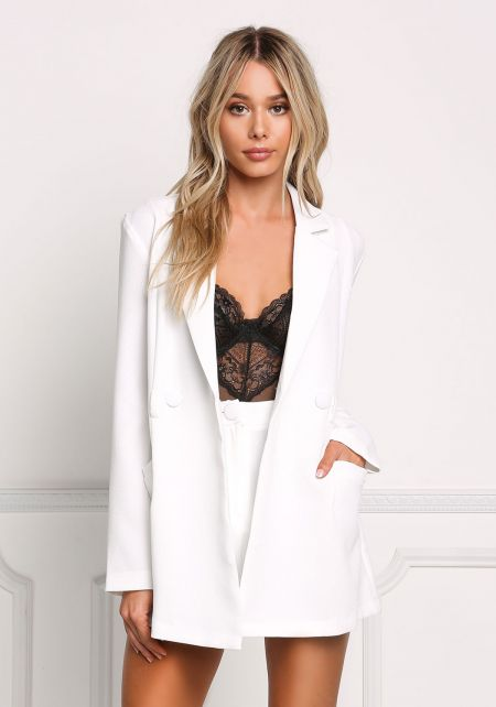 White Two In One Blazer Romper
