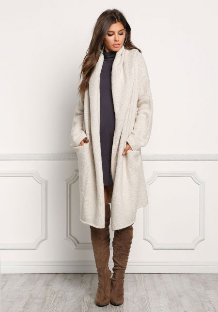 Cream Longlined Thick Knit Cardigan
