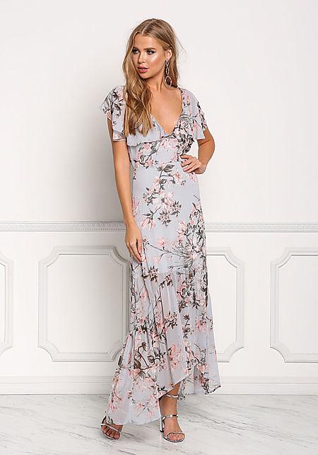 Dusty Blue Floral Chiffon Cross Strap Maxi Dress