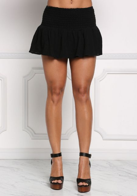 Black Ruched Crepe Mini Skirt