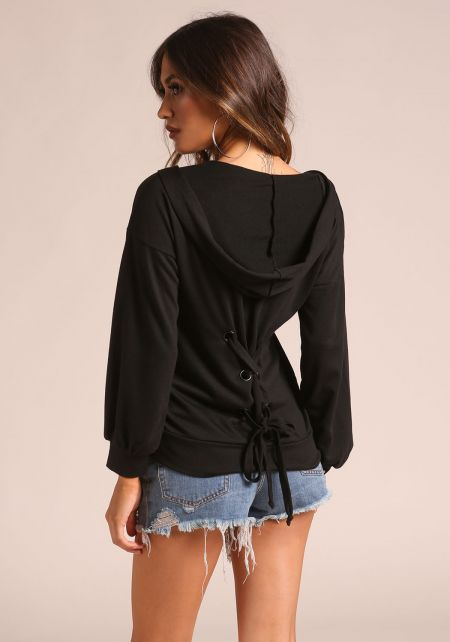 Black Back Lace Up Hooded Sweater