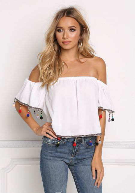 White Off Shoulder Pom Pom Crop Top