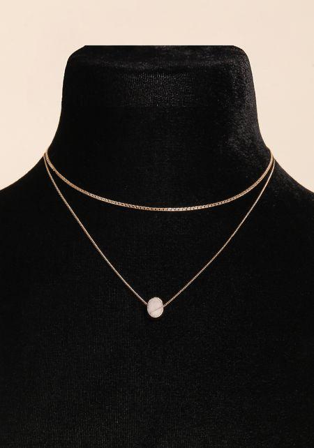 White Stone Layered Delicate Necklace