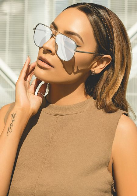 Quay x Desi Perkins High Key Aviator Sunglasses in