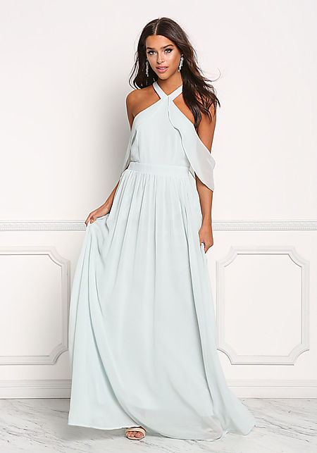 Shell Green Chiffon Cold Shoulder Layered Maxi Gow
