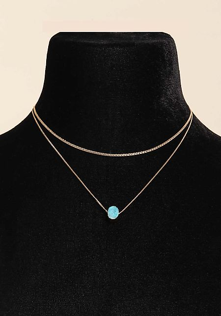 Turquoise Stone Layered Delicate Necklace