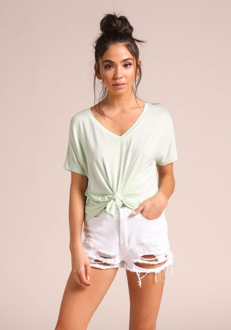 Light Green Knotted Jersey Knit Cropped Tee