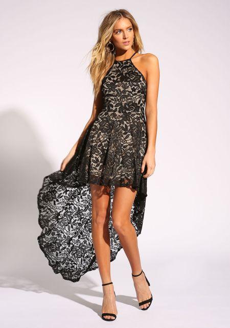 Black Floral Lace Hi-Lo Flared Dress