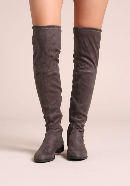 Grey Suedette Over The Knee Short Heel Boots