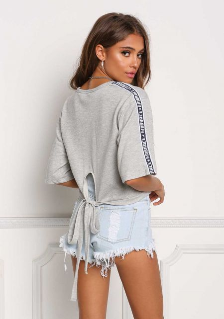 Heather Grey Embrace Strap Tie Back Tee