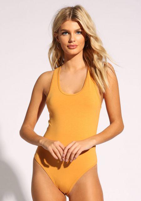 Mustard Racerback Jersey Knit Bodysuit