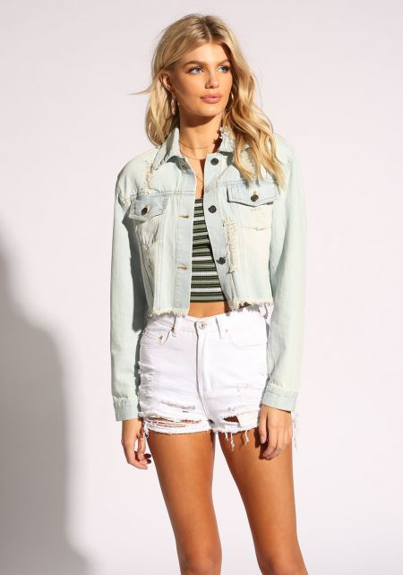 Light Blue Cropped Distressed Denim Jacket