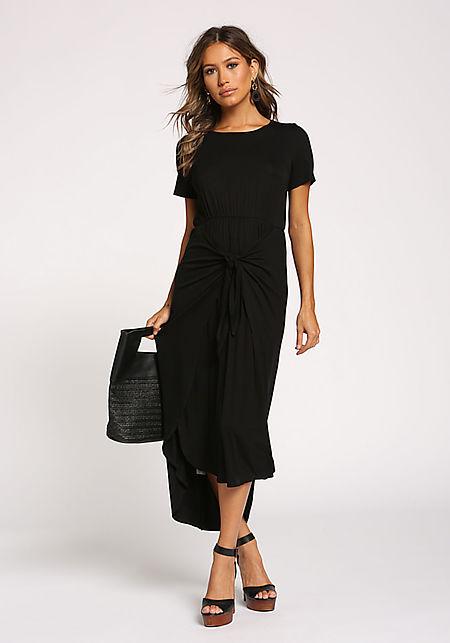 Black Tie Front Hi-Lo Maxi Dress