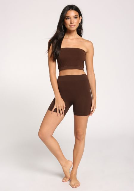 Dark Brown High Rise Biker Shorts