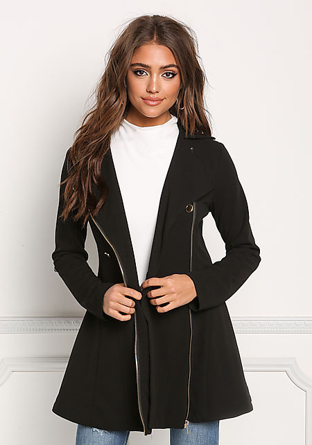 Black Flared Double Breasted Trench Coat