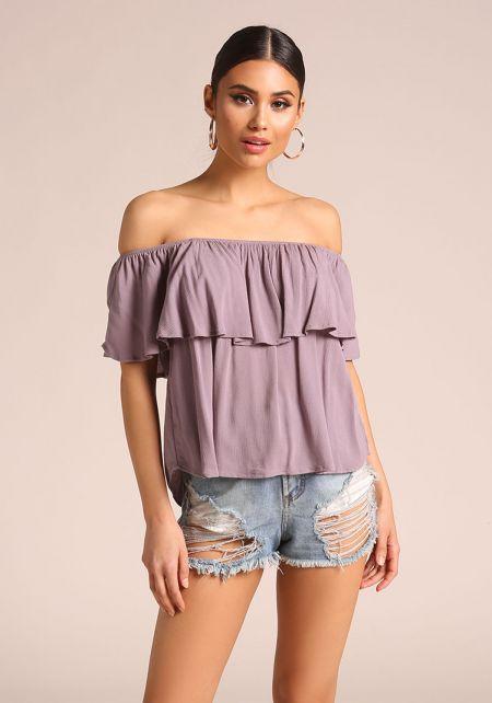 Lavender Crepe Off Shoulder Blouse