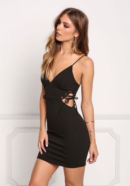 Black Plunge Side Lace Up Bodycon Dress