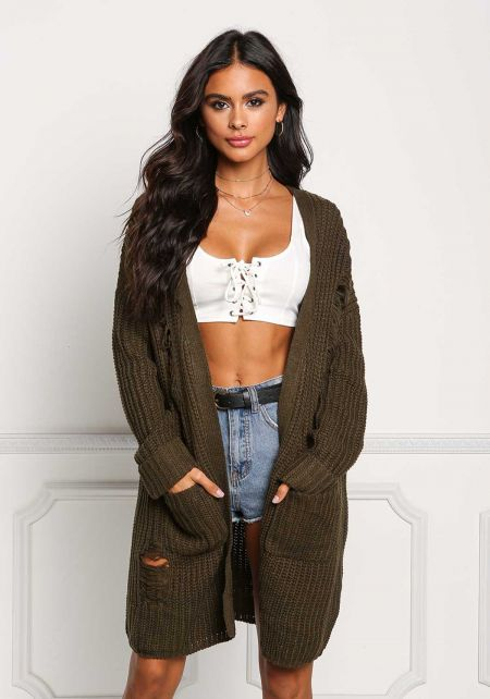 Olive Thick Knit Frayed Pocket Cardigan