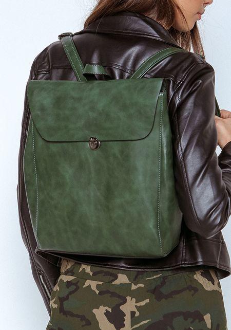 Olive Leatherette Messenger Backpack