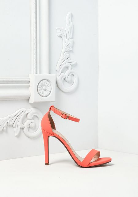 Coral Leatherette Ankle Strap Heels