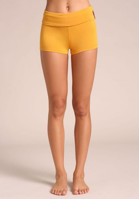 Mustard Low Rise Stretch Shorts