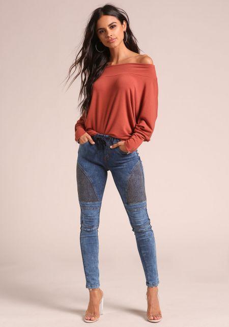 Blue Acid Wash Drawstring Skinny Jeans