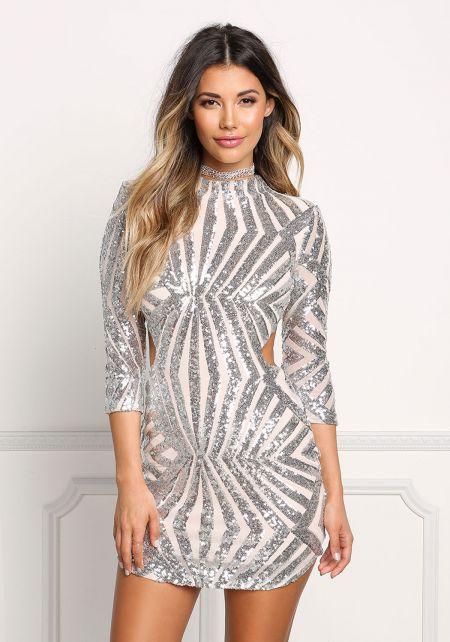 Silver Sequin Open Back Bodycon Dress