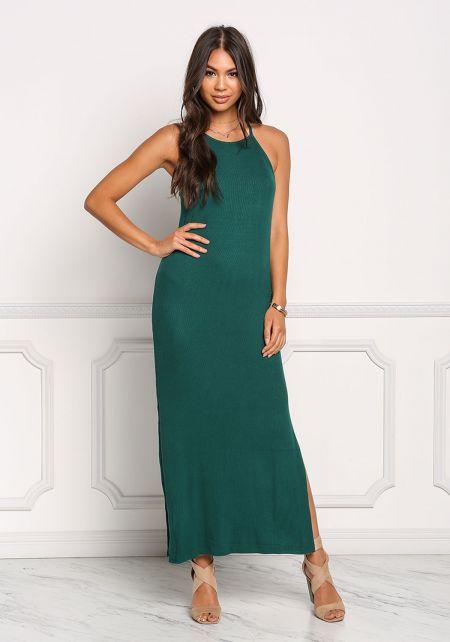 Hunter Green Ribbed Knit Maxi Slit Dress