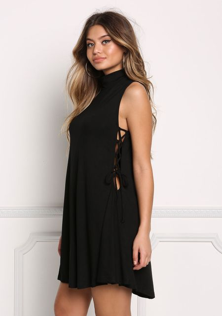 Black Jersey Knit Side Lace Up Shift Dress