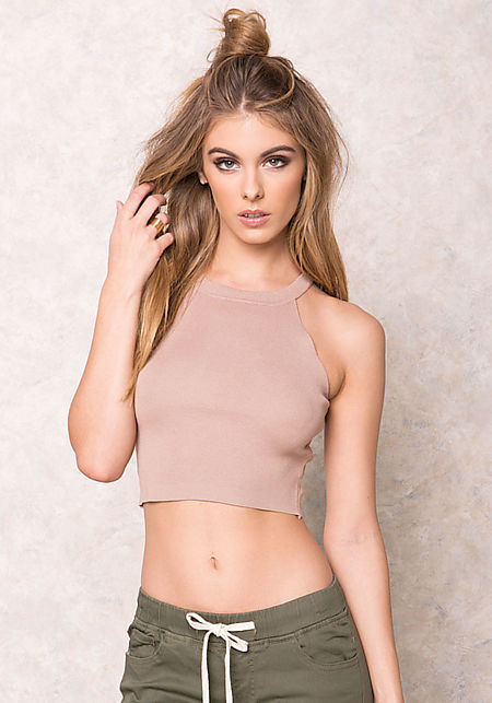 Mocha Ribbed Crew Neck Crop Top