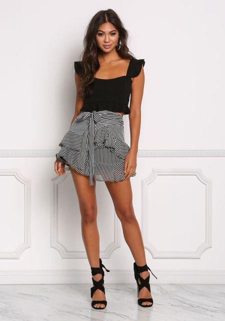 Black Stripe Ruffle Tier Flare Skirt