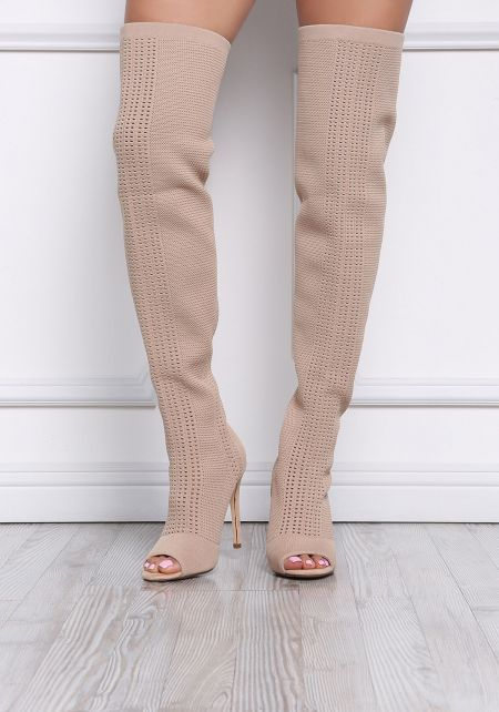 Nude Knit Peep Toe Thigh High Sock Boots