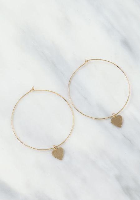 Gold Heart Charm Hoop Earrings