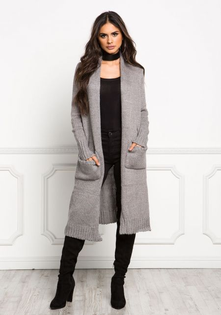 Grey Chunky Knit Longlined Pocket Cardigan