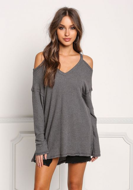 Charcoal Cold Shoulder Hi-Lo Knit Top