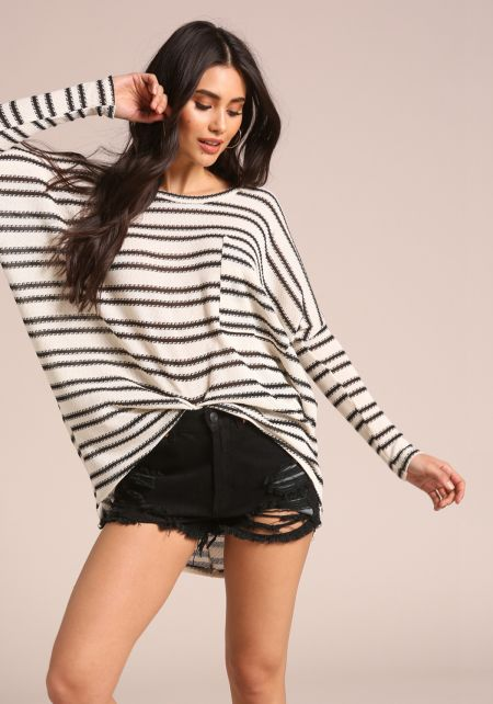 Black and Ivory Stripe Oversized Pocket Top