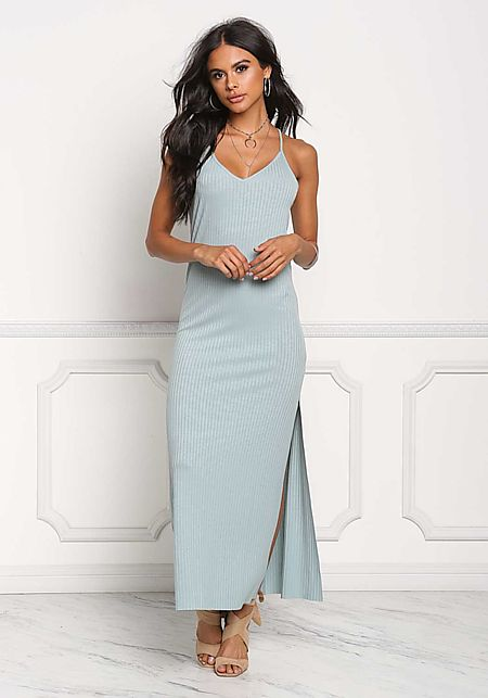 Dusty Blue Ribbed Knit Slit Maxi Dress