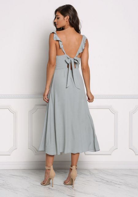 Sage Tie Back Slit Midi Dress