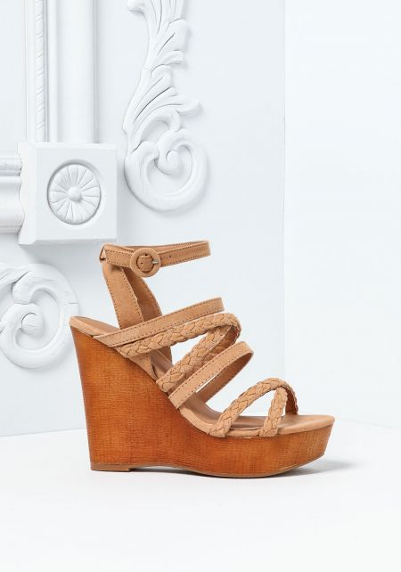 Camel Suedette Strappy Wood Wedges