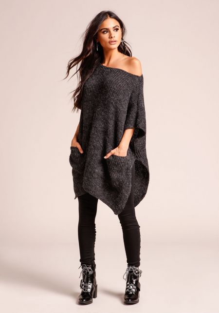 Black Thick Ribbed Knit Pocket Tunic Sweater Top