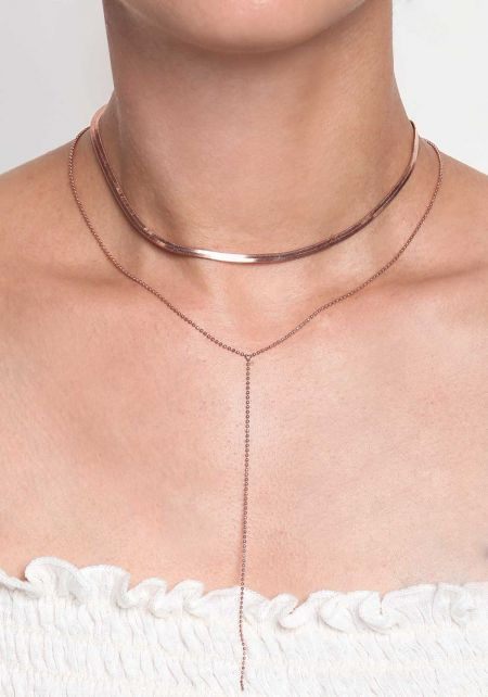 Rose Gold Flat Chain Layered Choker