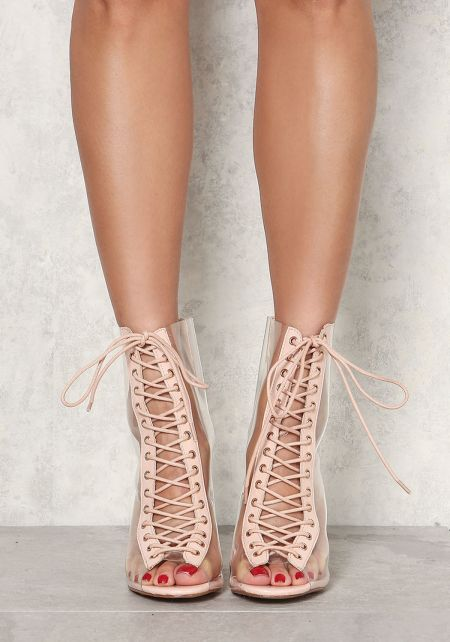 Nude Clear Lace Up Booties